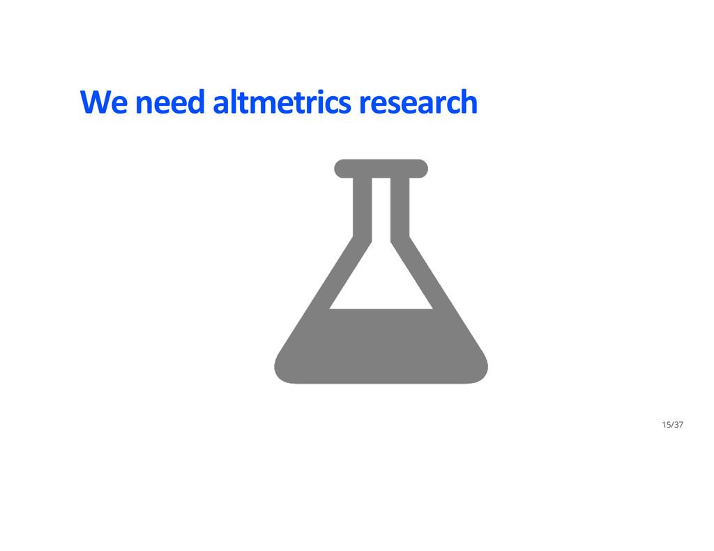 We need altmetrics research 15/37