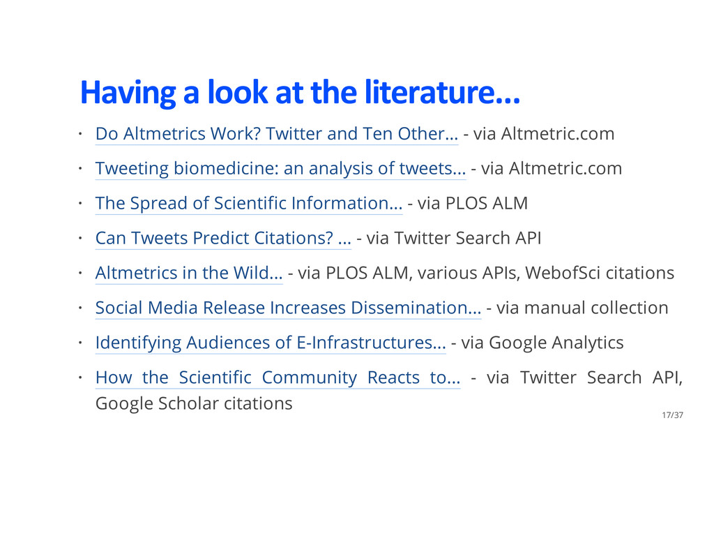 Having a look at the literature... Do Altmetric...