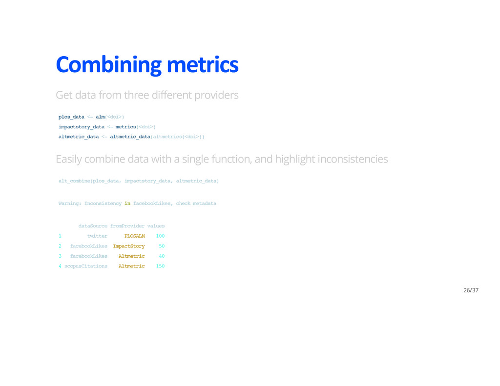 Combining metrics Get data from three different...