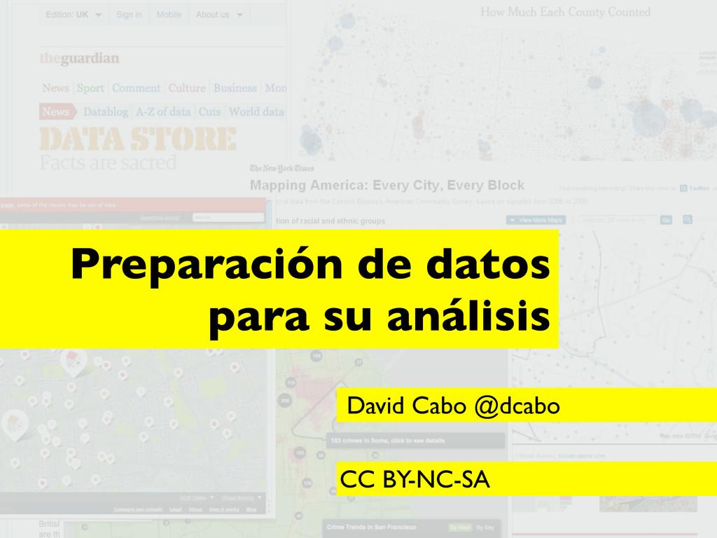 ... Preparación de datos para su análisis David...