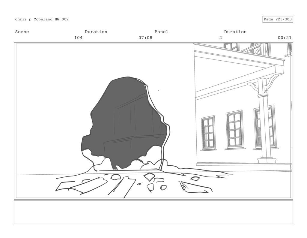 Scene 104 Duration 07:08 Panel 2 Duration 00:21...