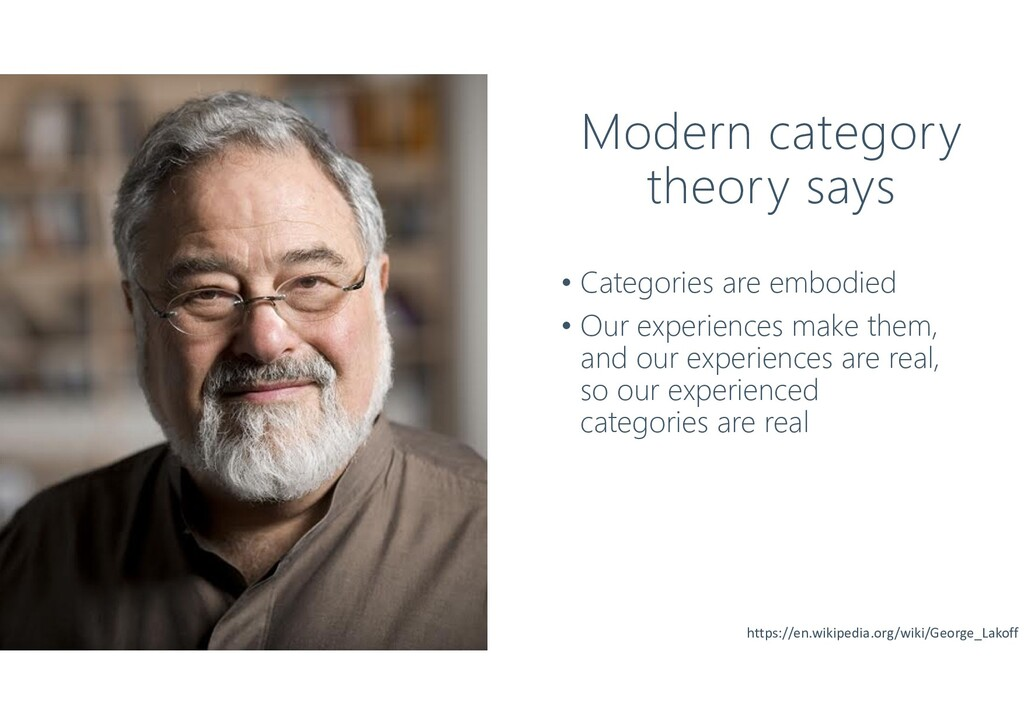 Modern category theory says • Categories are em...