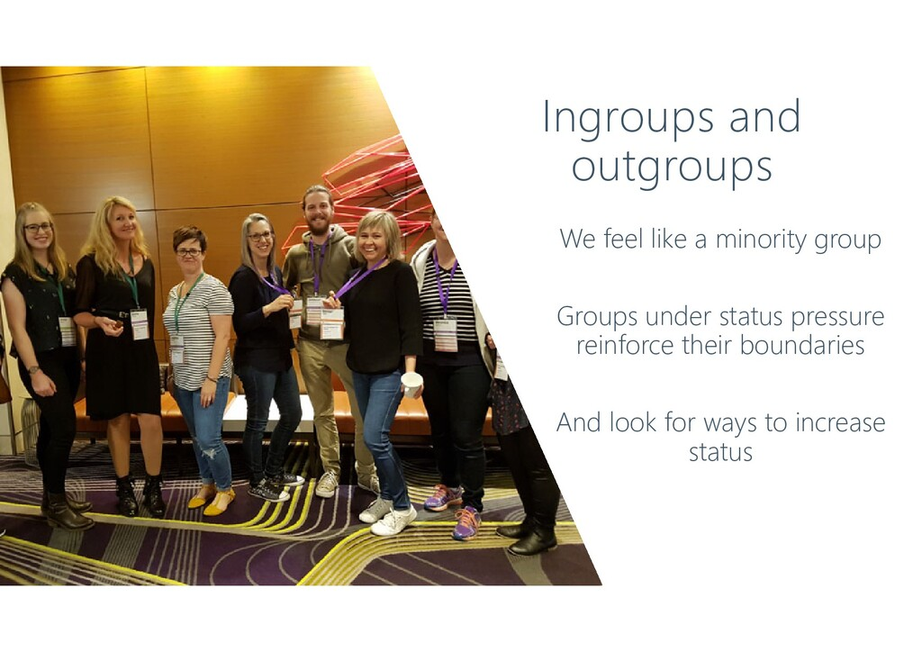 Ingroups and outgroups We feel like a minority ...