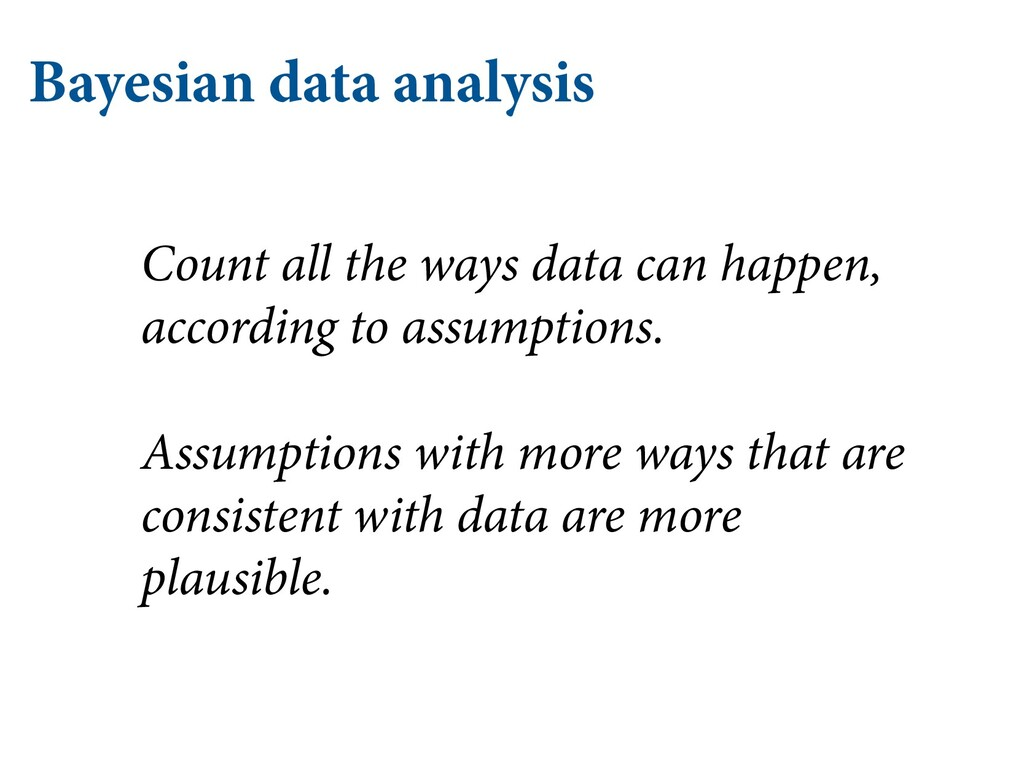 Bayesian data analysis Count all the ways data ...