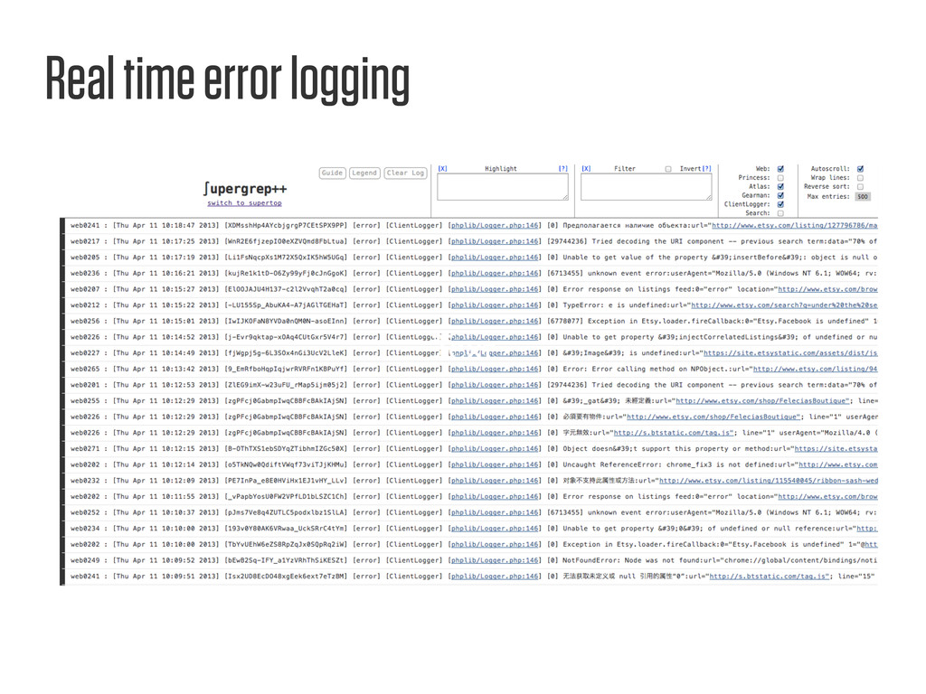 Text Real time error logging