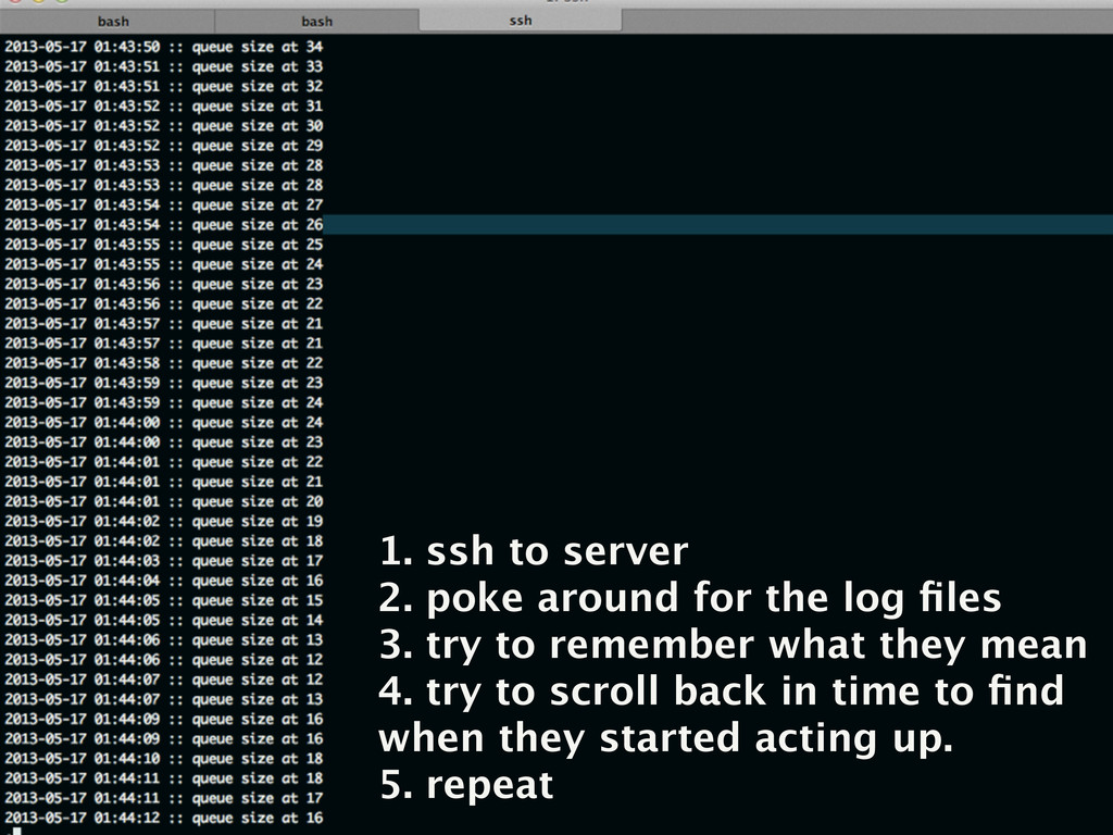 1. ssh to server 2. poke around for the log file...