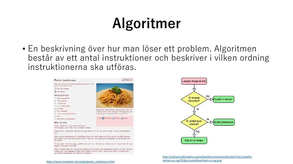 Algoritmer • En beskrivning över hur man löser ...