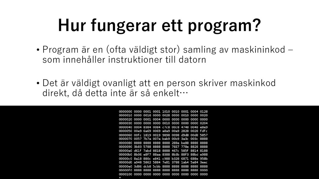 Hur fungerar ett program? • Program är en (ofta...