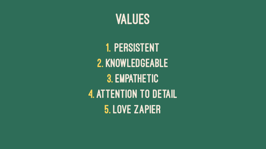 VALUES 1. Persistent 2. Knowledgeable 3. Empath...