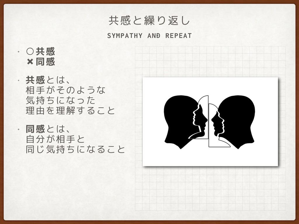 SYMPATHY AND REPEAT 共感と繰り返し • ○共感 ✖同感 • 共感とは、...