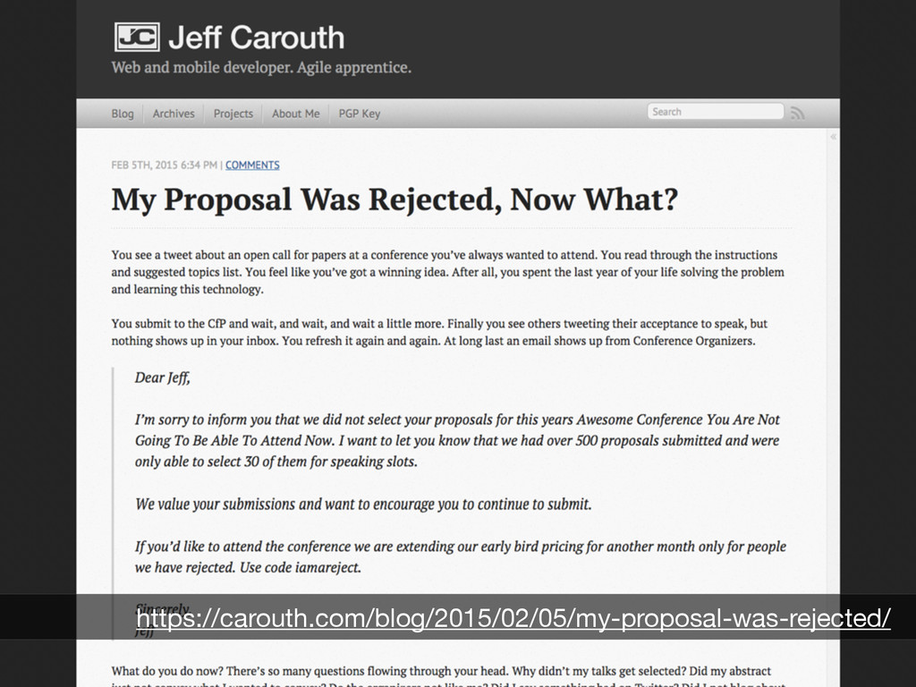 Why didn't my talk get selected? https://carout...