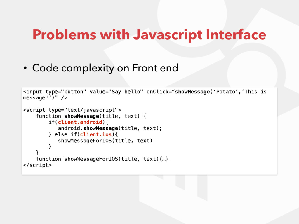 Problems with Javascript Interface • Code compl...
