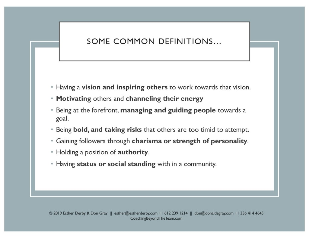 SOME COMMON DEFINITIONS… • Having a vision and ...