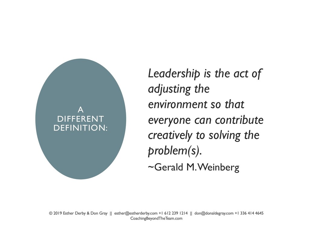 A DIFFERENT DEFINITION: Leadership is the act o...