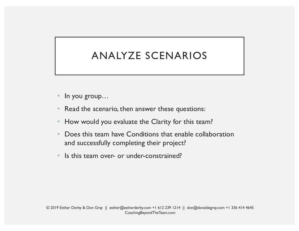 ANALYZE SCENARIOS • In you group… • Read the sc...
