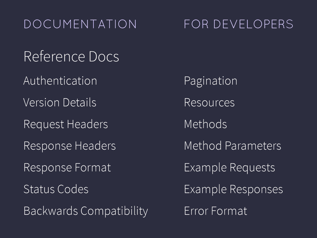 FOR DEVELOPERS DOCUMENTATION Reference Docs Aut...