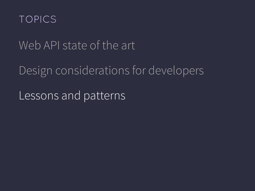 Web API state of the art Design considerations ...