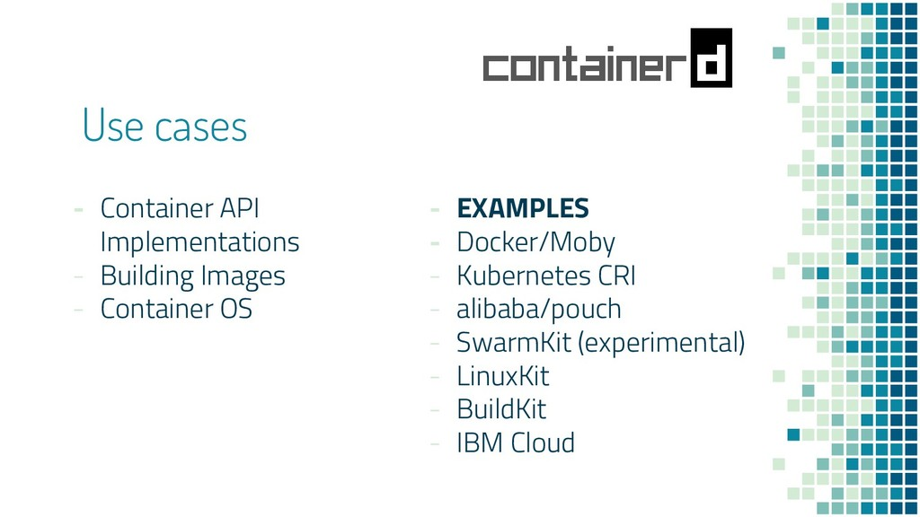 Use cases - Container API Implementations - Bui...