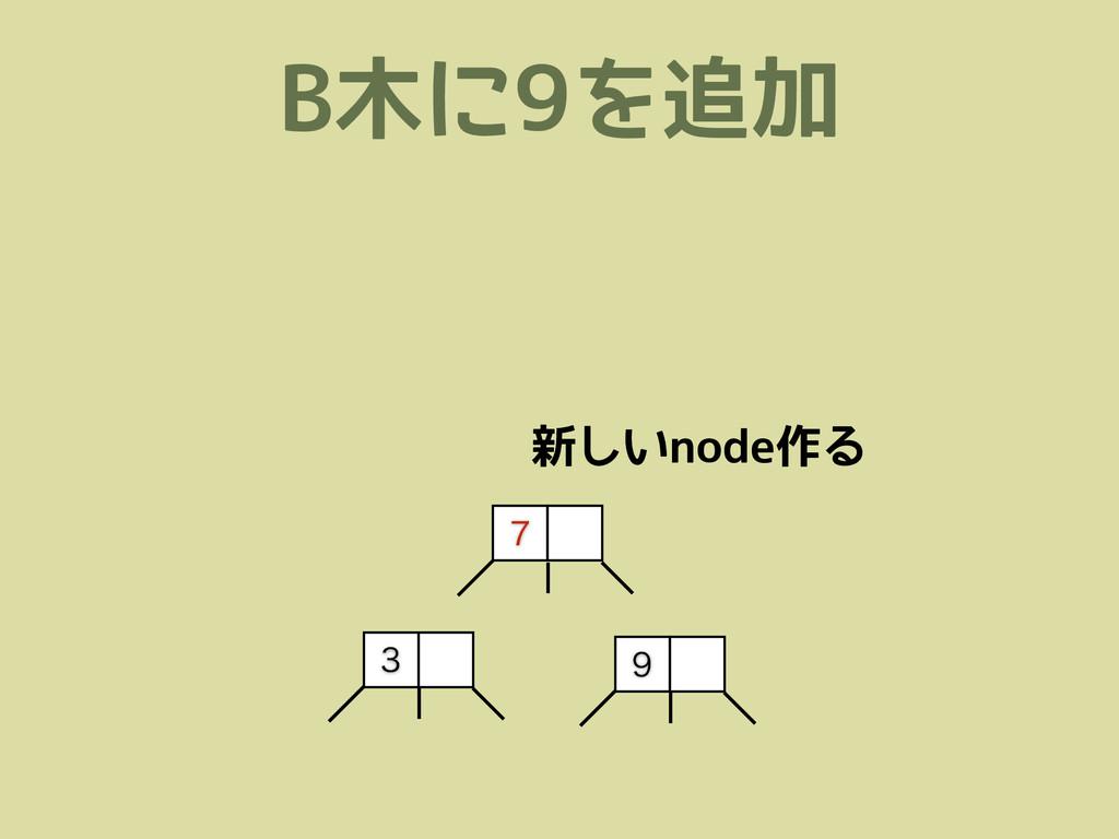 B木に9を追加    新しいnode作る