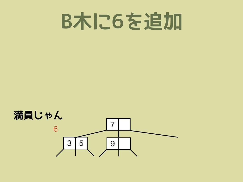 B木に6を追加     満員じゃん