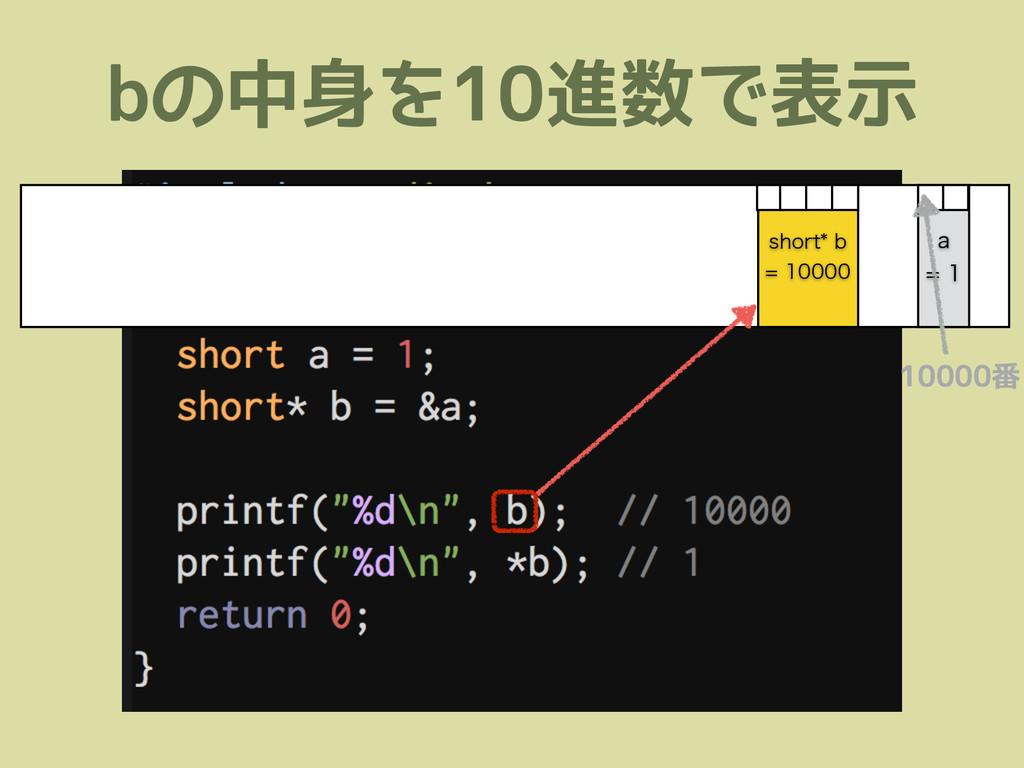 bの中身を10進数で表示 TIPSUC  B  10000番