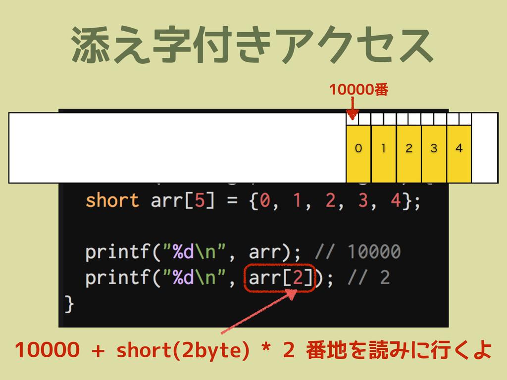 添え字付きアクセス      10000 + short(2byte) * 2 番地...