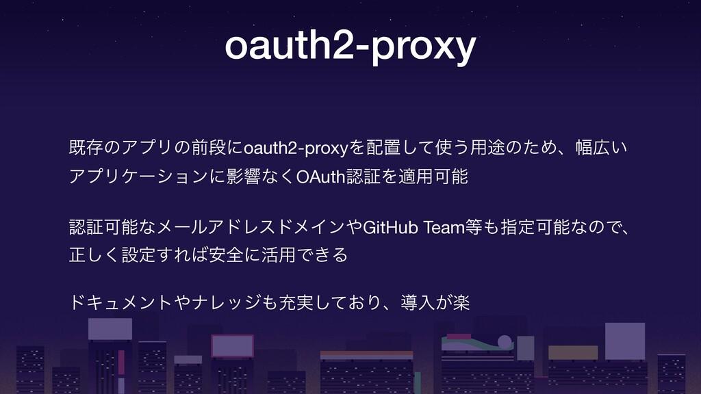 oauth2-proxy طଘͷΞϓϦͷલஈʹoauth2-proxyΛஔͯ͠͏༻్ͷͨΊ...