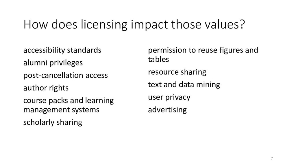 How does licensing impact those values? accessi...