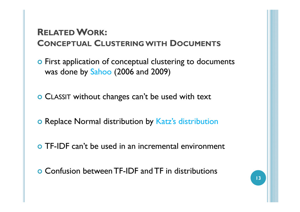 RELATED WORK: CONCEPTUAL CLUSTERING WITH DOCUME...