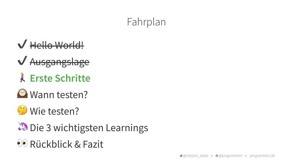"""Fahrplan ✔ Hello World! ✔ Ausgangslage """" Erste ..."""
