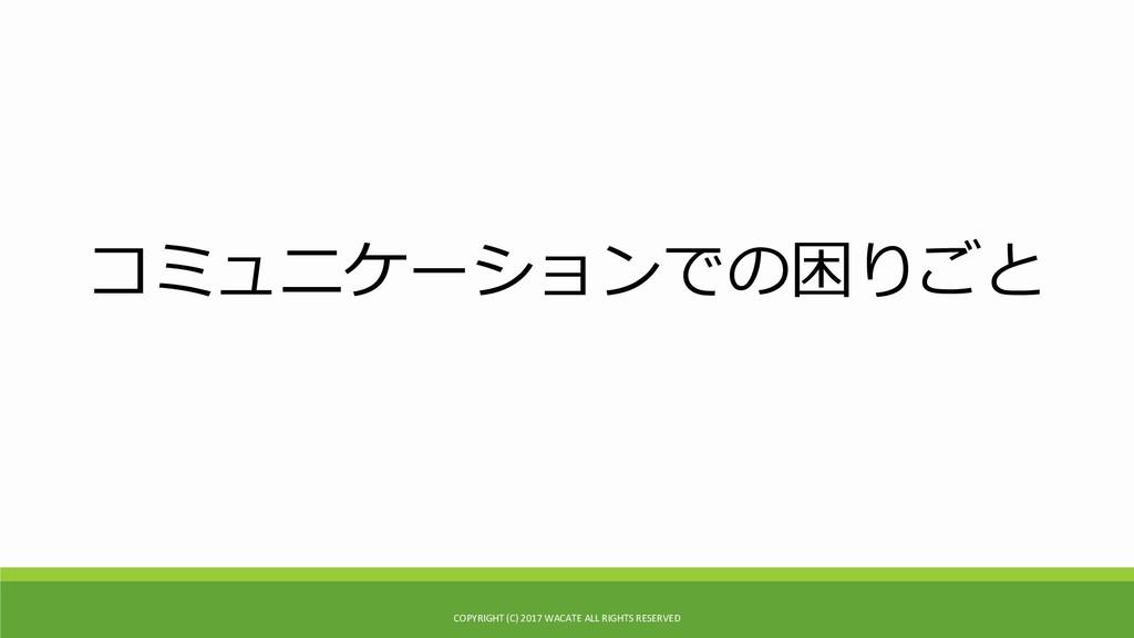 コミュニケーションでの困りごと COPYRIGHT (C) 2017 WACATE ALL R...