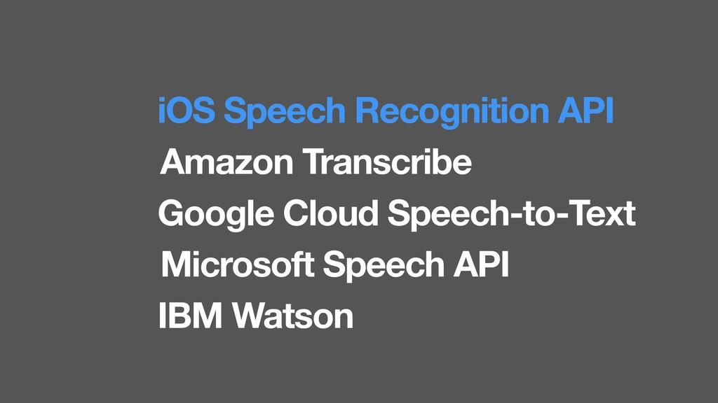 iOS Speech Recognition API Amazon Transcribe Go...