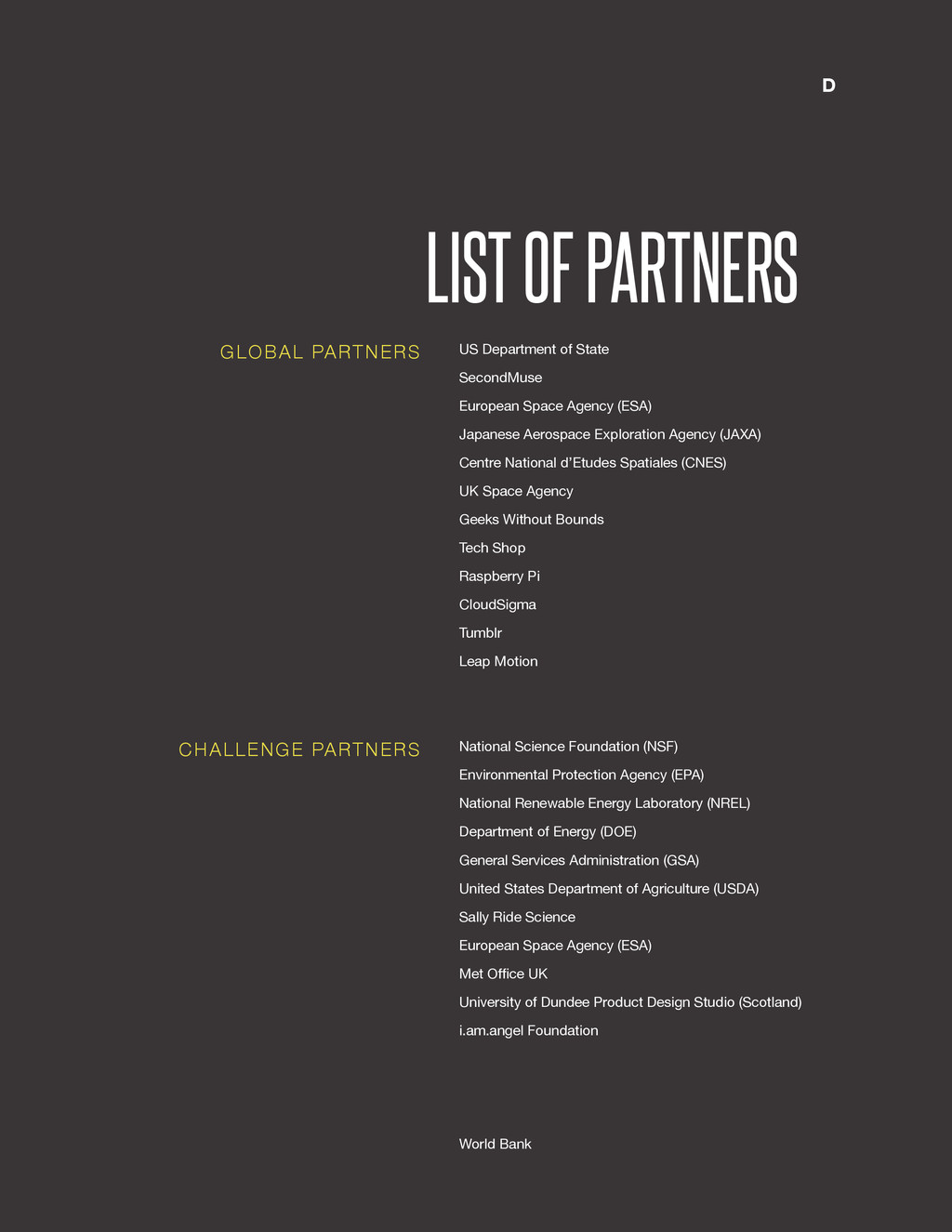 @SpaceApps LIST OF PARTNERS US Department of St...