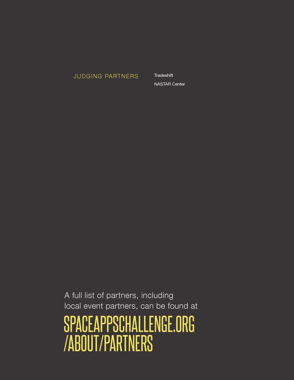 spaceappschallenge.org Tradeshift NASTAR Center...