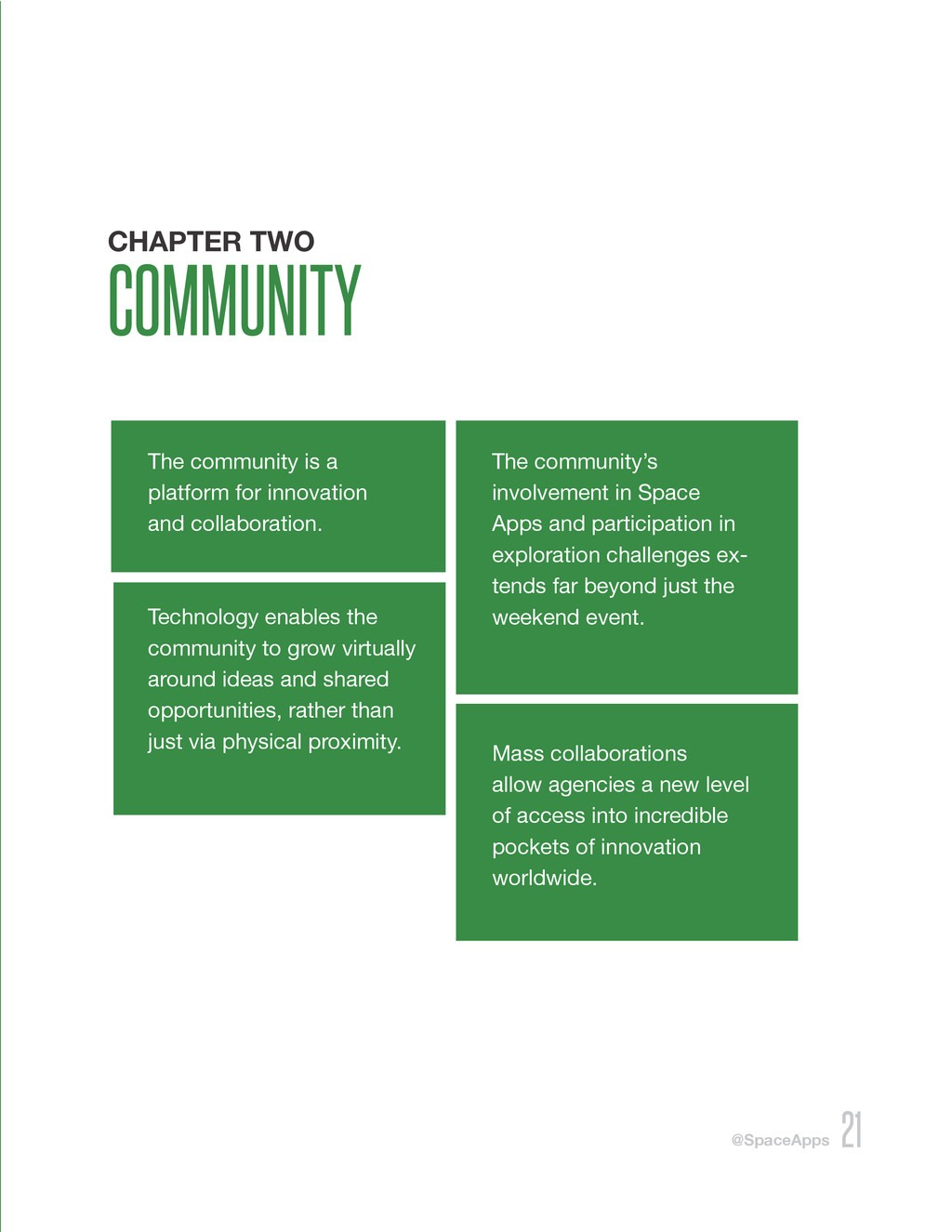@SpaceApps 21 CHAPTER TWO COMMUNITY The communi...