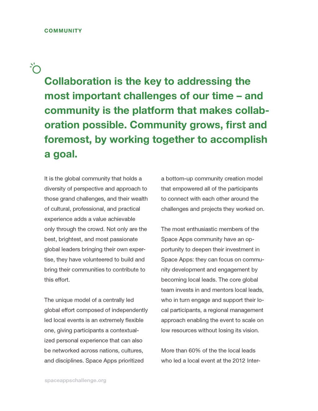 spaceappschallenge.org Collaboration is the key...