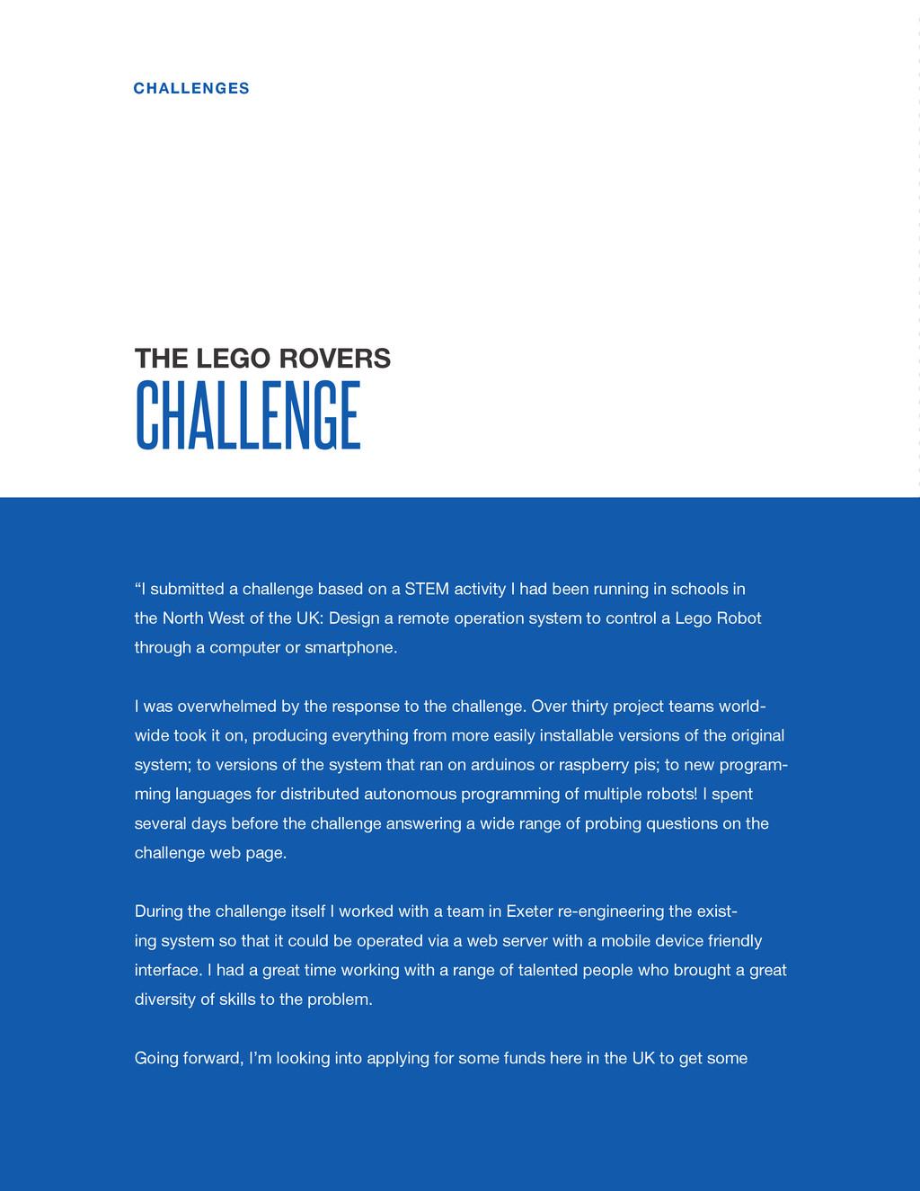 spaceappschallenge.org CHALLENGES THE LEGO ROVE...
