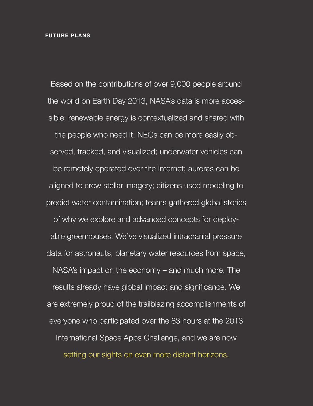 spaceappschallenge.org 9,150 PEOPLE 484 ORGANIZ...