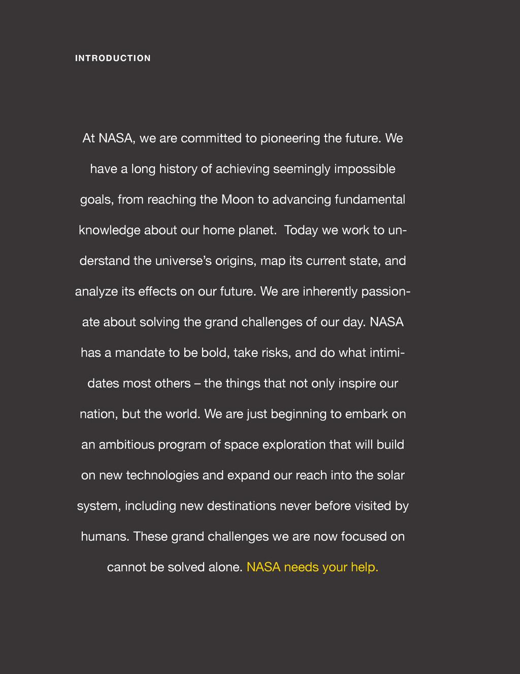spaceappschallenge.org INTRODUCTION At NASA, we...