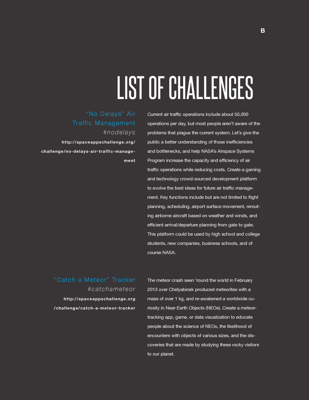 @SpaceApps LIST OF CHALLENGES Current air traff...