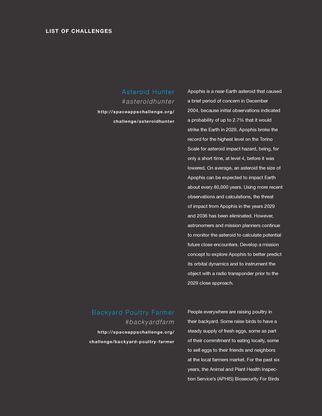 spaceappschallenge.org LIST OF CHALLENGES Apoph...