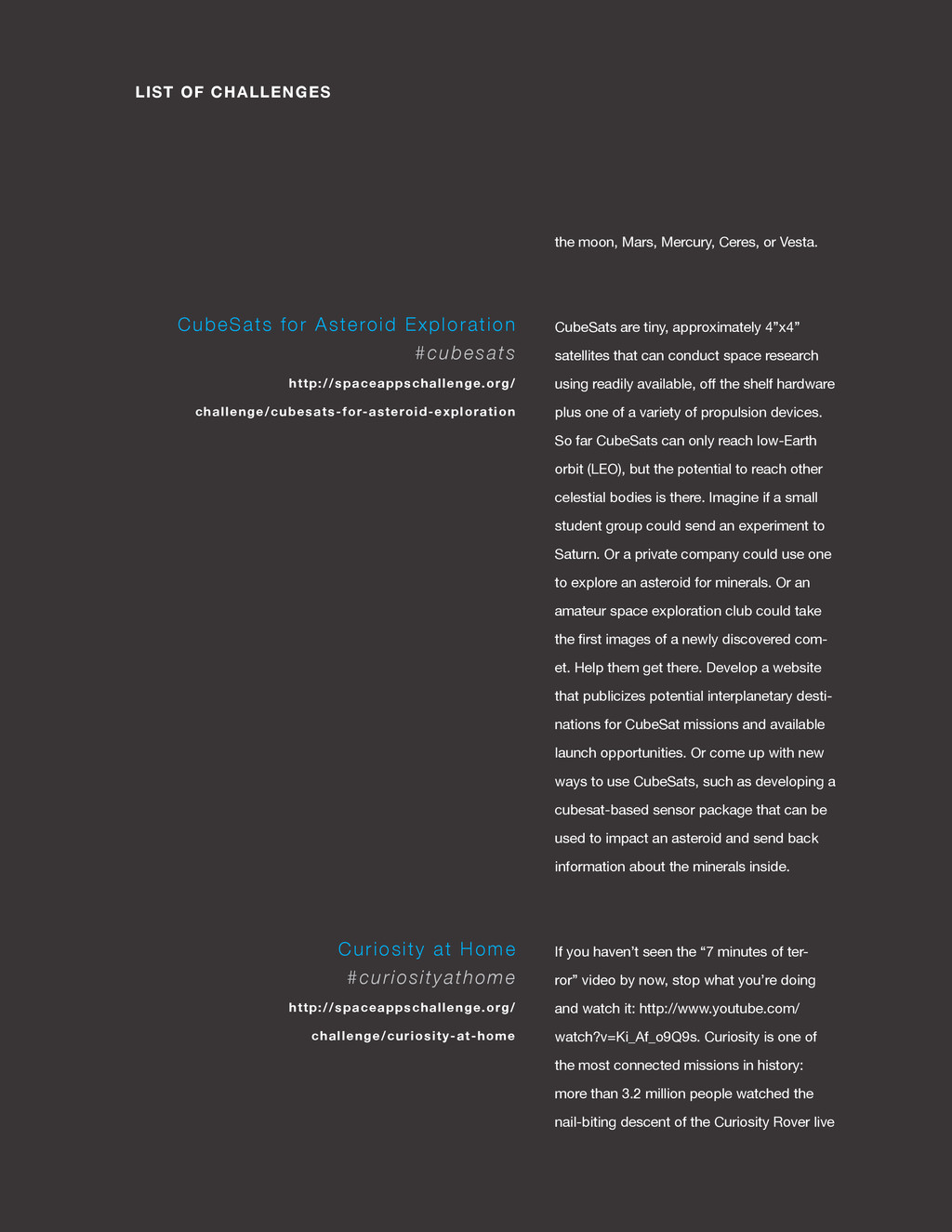 spaceappschallenge.org LIST OF CHALLENGES the m...