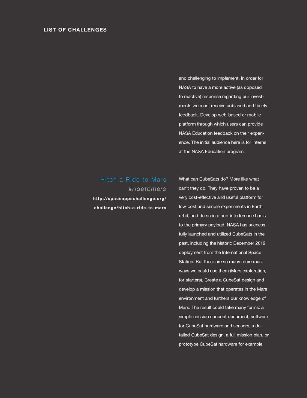spaceappschallenge.org LIST OF CHALLENGES and c...