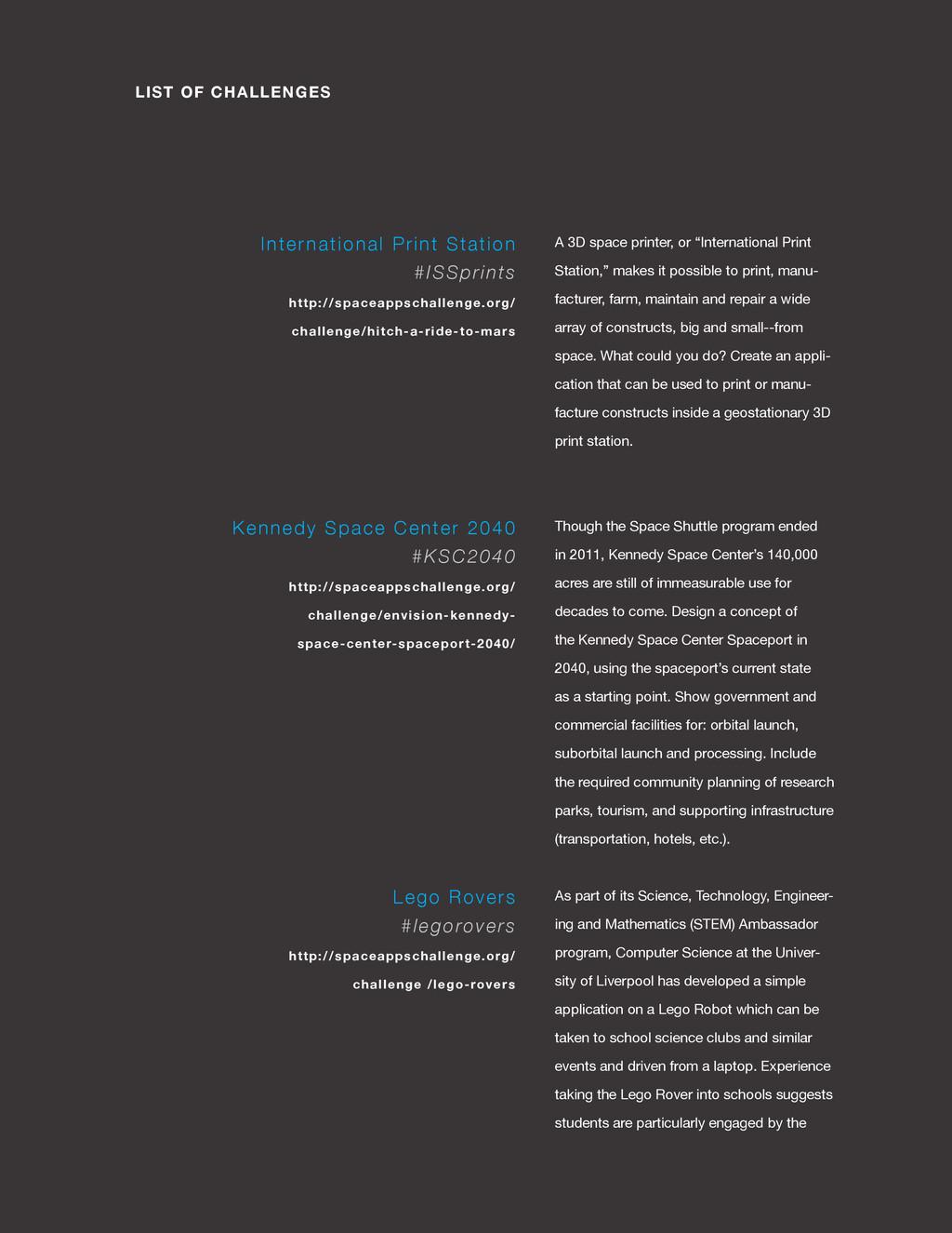spaceappschallenge.org LIST OF CHALLENGES A 3D ...