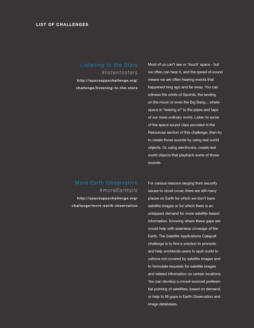 spaceappschallenge.org LIST OF CHALLENGES Most ...