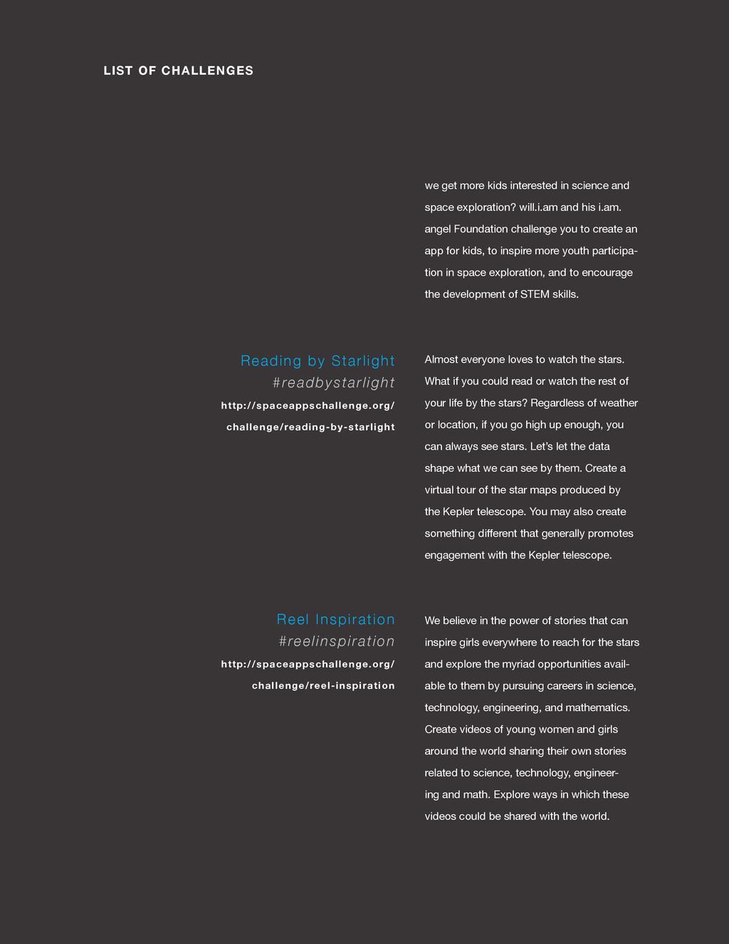 spaceappschallenge.org LIST OF CHALLENGES we ge...