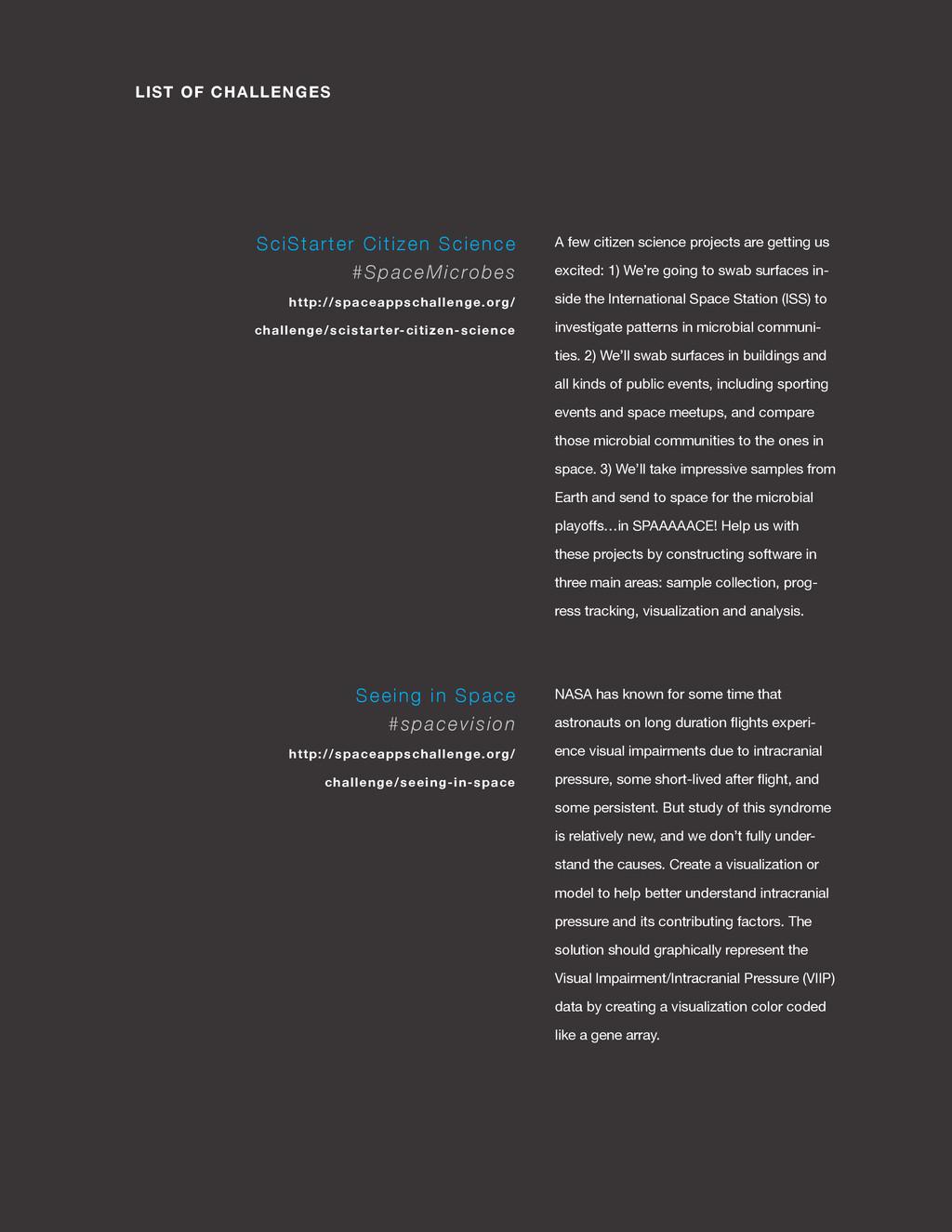 spaceappschallenge.org LIST OF CHALLENGES A few...
