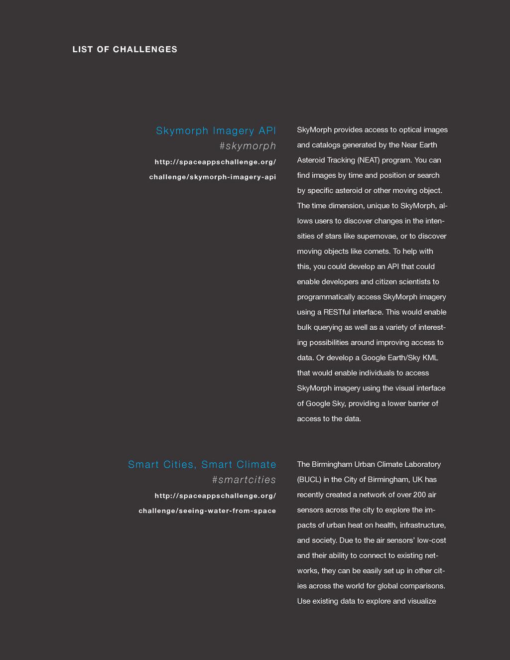 spaceappschallenge.org LIST OF CHALLENGES SkyMo...