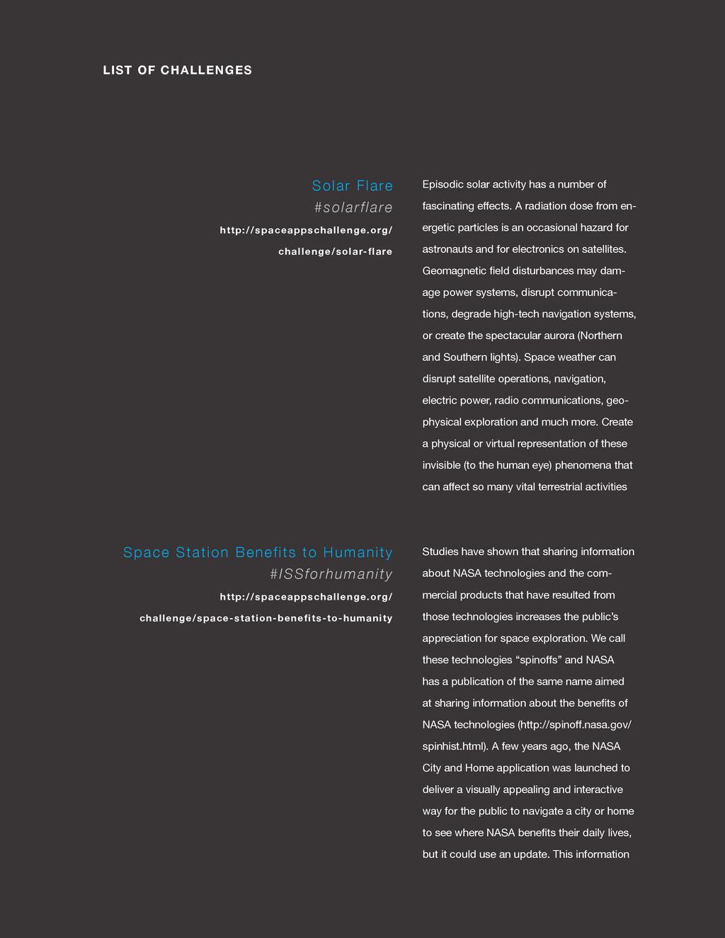 spaceappschallenge.org LIST OF CHALLENGES Episo...