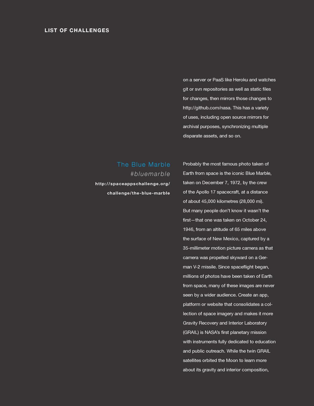 spaceappschallenge.org LIST OF CHALLENGES on a ...